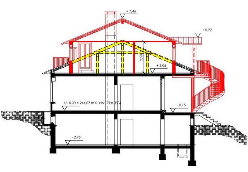 Bauantragsplanung Erweiterung Wohnhaus
